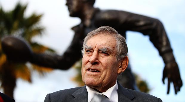 Legend: Sir Colin Meads pictured at his commemorative statute
