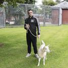 Andrew Meneice from Portrush outside Coleraine Magistrates Court with his pet goat. Pic Mark Jamieson