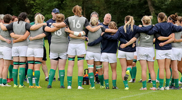 Listen up: the Ireland team huddle together at Queen's ahead of their clash at the Kingspan Stadium