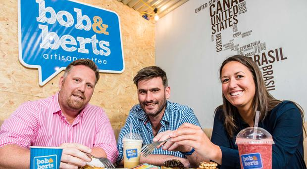 Gemma Hamilton (right), an investor from BGF's Northern Ireland team, with Colin McClean (left) and David Ferguson, owners of Bob & Berts