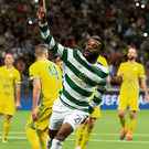 Safe: Olivier Ntcham celebrates scoring the goal that eased Celtic's fears in Kazakhstan last night