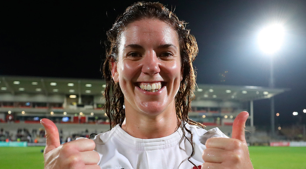 Sheer delight: England skipper Sarah Hunter at the Kingspan. Photo: David Rogers/Getty Images