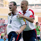 For the record: Wayne Rooney celebrates a goal at Euro 2004 with David Beckham. Photo: Nick Potts/PA