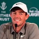 Good to talk: Rory McIlroy faces the media at the Glen Oaks Club, Westbury, New York yesterday. Photo: Andrew Redington/Getty Images