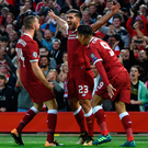 Cruise control: Emre Can celebrates setting Liverpool on their way with the opener