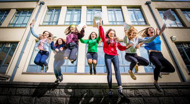 Students from Dominican College Fortwilliam as they receive GCSE results on August 24th 2017 (Photo by Kevin Scott / Belfast Telegraph)