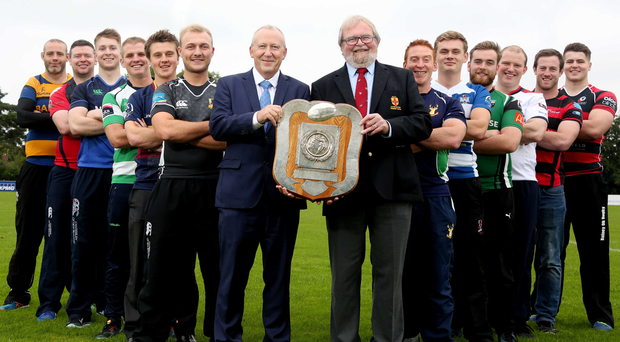 So good: Launching the 2017/18 SONI Ulster Rugby Premiership were Nick Fullerton, director of SONI (System Operator for Northern Ireland) and Graffin Parke, IRFU president (middle right) with players from each of the 12 senior clubs (from left): Lewis Stevenson, Bangor, Davy Annett, Belfast Harlequins, Nigel Simpson, Queen's University, Stewart McCain, Omagh Academicals, Adam Ervine, Banbridge, Glenn Baillie, Ballymena, James McBriar, Ballynahinch, Jake Finlay, Dungannon, Ross Harkin, City of Derry, James McAlister, Malone, Ali Birch, City of Armagh and Ronan McCusker, Rainey