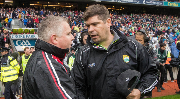 Honours even: Kerry manager Eamonn Fitzmaurice and Mayo manager Stephen Rochford have to lock horns again. Photo: Ryan Byrne/INPHO