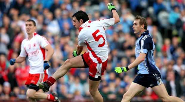 Pick it out: Davy Harte finds the net for Tyrone against Dublin at Croke Park back in 2008
