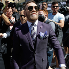 Suits you: Conor McGregor in Vegas ahead of the big fight. Photo: John Locher/AP