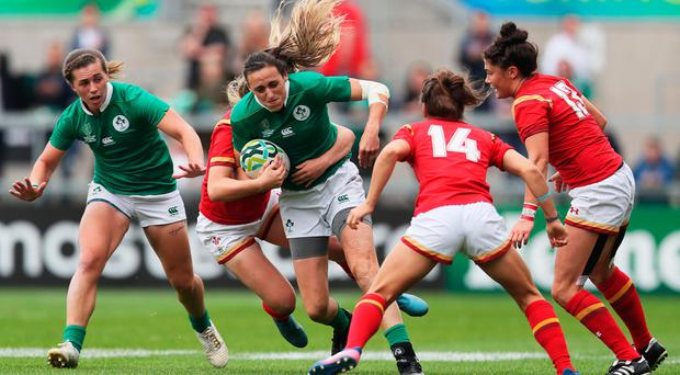 Ireland's Hannah Tyrrell in action against Wales during the seventh place play-off match at the Kingspan Stadium.