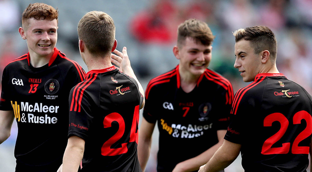 Ethan Jordan and Cormac Quinn celebrate after Tyrone U17s were crowned All-Ireland champions