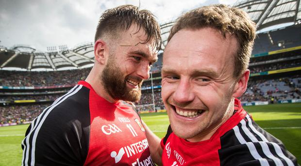 Mayo delight: Aiden O'Shea and Andy Moran