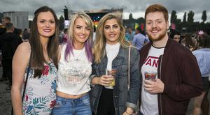 Elaine Bolton, Jade Allen, Haf Bishop, and Cameron Tracey from Holywood at Belfast Vital to see Dutch DJ Tiesto. Saturday 26th Aug 2017 Picture by Liam McBurney/RAZORPIX