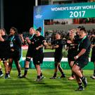 New Zealand perform the Haka after winning the 2017 Women's World Cup Final at the Kingspan Stadium, Belfast. Brian Lawless/PA Wire.