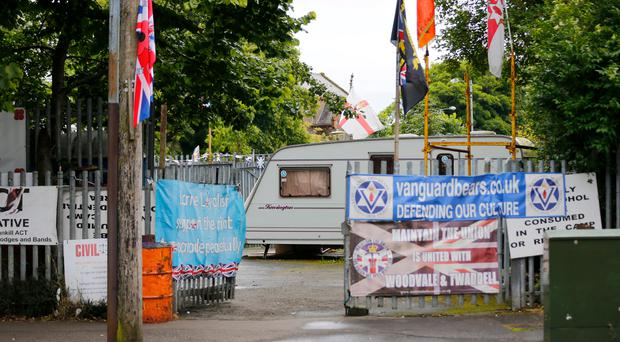 A man was convicted on Tuesday of stealing an Ulster flag from a loyalist protest camp in north Belfast