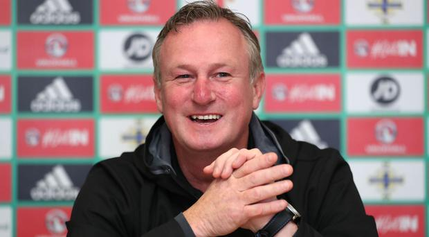 Northern Ireland manager Michael O'Neill during Wednesday's press conference in Manchester ahead of Friday night's World Cup qualifier against San Marino in Serravalle. Photo by William Cherry/Presseye