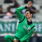 Top bowler: Ireland's George Dockrell took four wickets. Photo: Donall Farmer/INPHO