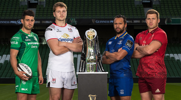 Silver lining: Ulster's Iain Henderson (second left) at the launch of the 2017/18 Guinness PRO14 Season with (from left) Tiernan O'Halloran (Connacht), Isa Nacewa (Leinster) and CJ Stander (Munster). Photo: Billy Stickland/INPHO