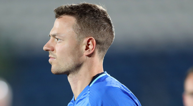 Northern Ireland's Jonny Evans during last night's training session at the San Marino Stadium. Photo: William Cherry/Presseye