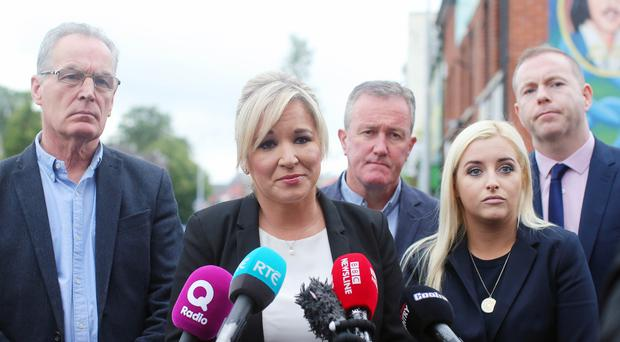 Sinn Fein's leader in the north Michelle O'Neill leads some of her party colleagues to speak to the press on the Falls Road in west Belfast regarding the ongoing talks and issues with the Northern Ireland Assembly. Picture by Jonathan Porter/PressEye.com