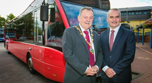 Derry~Londonderry's new bus service 'Foyle Metro' Pictured enjoying the Foyle Metro celebrations are Mayor of Derry City and Strabane District Council, Councillor Maolíosa McHugh and Chris Conway, Translink Group Chief Executive. Picture by Brian Morrison.