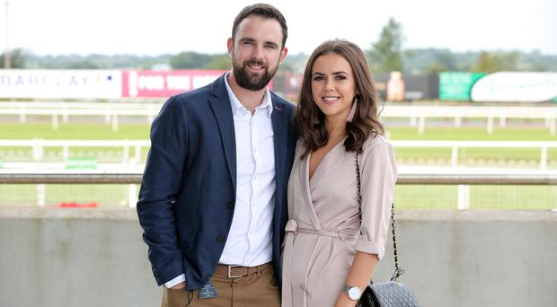 Press Eye - Belfast - Northern Ireland - 1st September 2017 - Declan Burns and Elmer Moran from Morans Retail pictured at the Musgrave Race Day at Down Royal Racecourse. Photo by Kelvin Boyes / Press Eye.