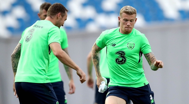 Fancy footwork: Aiden McGeady and James McClean get down to the business of training in the Boris Paichadze Arena