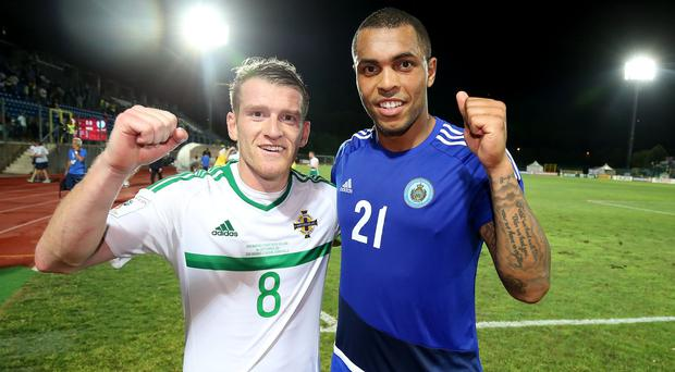 Northern Ireland goal heroes Steven Davis and Josh Magennis at the final whistle after defeating San Marino 0-3 in Friday nights World Cup qualifier at the San Marino Stadium in Serravalle. Photo by William Cherry/Presseye