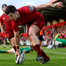 Munster's Alex Wootton scores a try