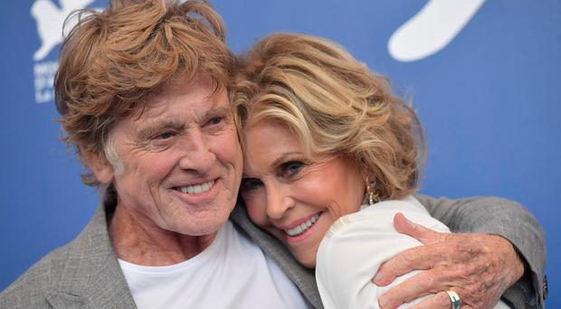 Robert Redford and Jane Fonda at the Venice Film Festival yesterday