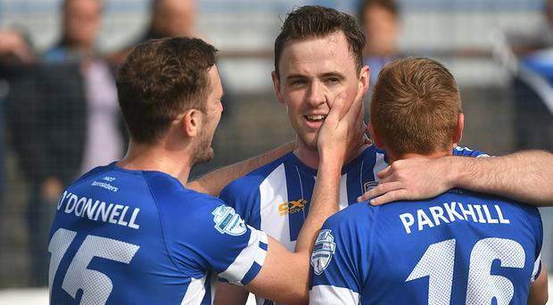Coleraine's Darren McCauley netted a first-half brace to send the Bannsiders on their way.