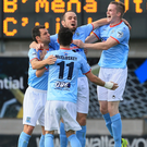 Jumping for joy: Ballymena United players celebrate their triumph after Emmet Friars' goal proved decisive against Cliftonville. Photo: David Maginnis/Pacemaker