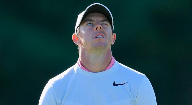 Heavens above: Rory McIlroy rues another missed chance as he misses the cut at the Dell Technologies Championship. Photo: Drew Hallowell/Getty Images