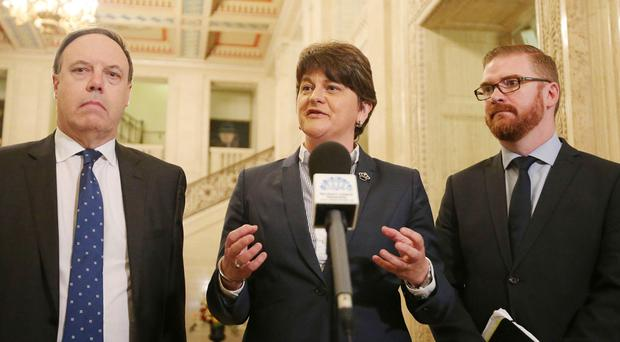 Foster warns over powersharing talks as Brokenshire meets parties at Stormont