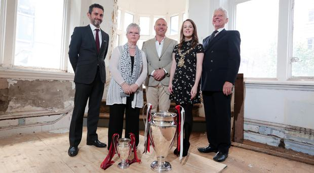 Matthew Primack (Senior Vice President, IMG Licensing), Barbara McNarry (George Best's sister), Lawrence Kenwright (Founder & Chairman, Signature Living), Councillor Nuala McAllister (Lord Mayor of Belfast) & Norman McNarry (George Best's brother-in-law)