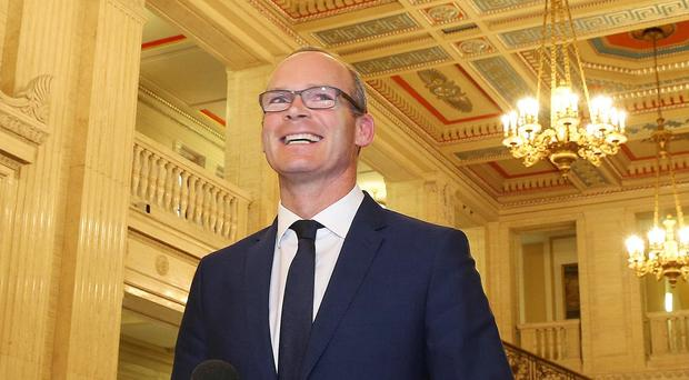 Irish Foreign Minister Simon Coveney speaking to the press in the Great Hall at Parliament Buildings, Stormont Picture by Jonathan Porter/PressEye.com