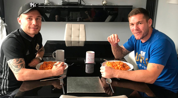 Hungry to do business: It looks like Carl Frampton and Jamie Moore have become a permanent partnership as fighter and coach