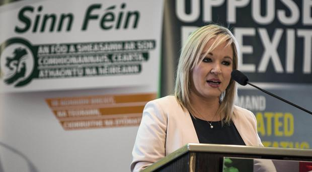 Michelle O'Neill delivers her speech at the Sinn Fein conference.