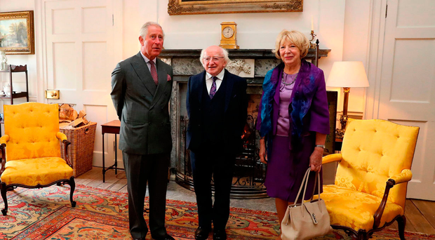 Prince Charles with Michael D Higgins and his wife, Sabina Coyne in the Yellow Room at Dumfries House