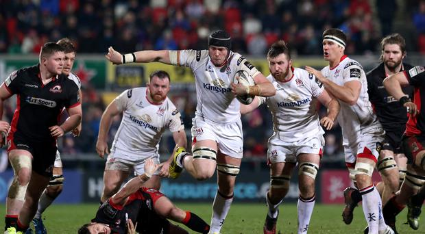 Up and running: Ulster's Kieran Treadwell on the charge