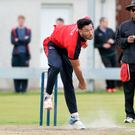 Vital presence: Waringstown Professional Shaheen Khan shows off his bowling skill