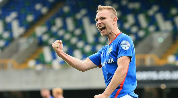 Victory roar: Andrew Mitchell celebrates his winner against Ballymena United