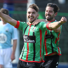 Roaring start: Robbie McDaid has netted three times since joining Glentoran in the summer and struck up a dangerous partnership with Curtis Allen