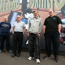 Members of the Northern Ireland Boxing Association, Tommy Waite, Billy McKee Tom Dunn and Terry McCorran at the Midland Boxing Club in Tigers Bay, Belfast. Photo: Kelvin Boyes/Presseye