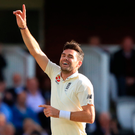 First Englishman: James Anderson celebrates his 500th Test wicket yesterday