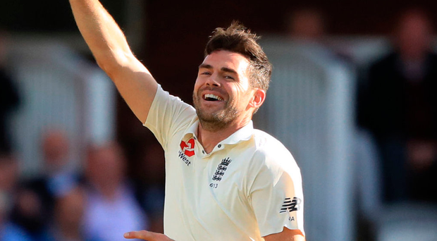 First Englishman James Anderson celebrates his 500th Test wicket yesterday
