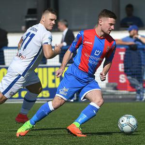 Coleraine's Josh Carson and Ards David McAllister during the game at the Bangor Fuels arena in Bangor. Photo Kirth Ferris/Pacemaker Press