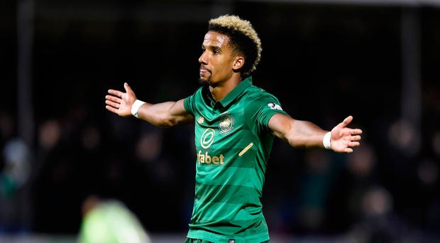 Celtic's Scott Sinclair celebrates scoring his side's second goal of the game during the Ladbrokes Scottish Premiership match at the SuperSeal Stadium, Hamilton Academical. The Scottish champions won the game 4-1. Pic: PA wire