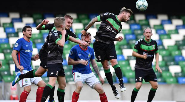 Glentoran put in a feisty performance away to Linfield and can take plenty of positives despite a 1-0 defeat. Photo Charles McQuillan/Pacemaker